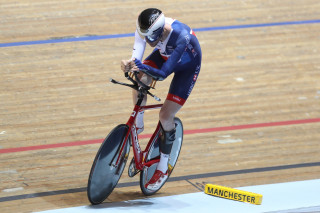 Dave Smith winning bronze at the Manchester Para-cycling International