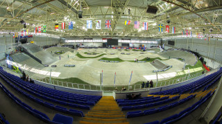Spectators' eye view of the indoor BMX track at the National Cycling Centre, Manchester