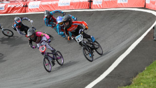 Championship women's racing at the HSBC UK | BMX National Series.