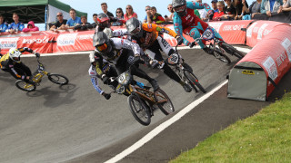 Superclass racing at the HSBC UK BMX National Series.