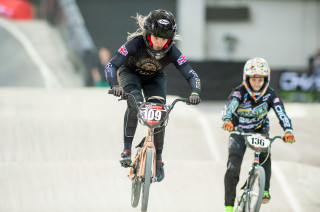 Ellie Featherstone in the women's semi-final in Manchester at the 2019 UCI BMX World Cup in Manchester.