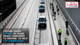 Cycling saves a third of road space compared to driving to help cut congestion