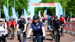 Julie Harrington rides at the Let's Ride event Cardiff.