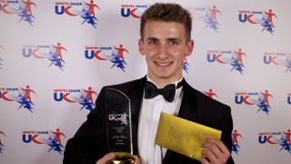 Andrew Pink, winner of the Heather Crouch Young Coach of the Year award
