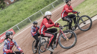 The Junior riders race in the British Cycling Cycle Speedway Supertrax Series