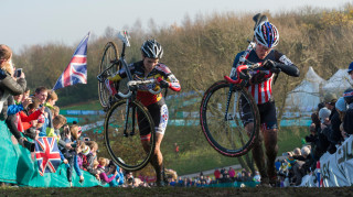Sanne Cant and Katie Compton at the 2014 UCI Cyclo-cross World Cup in Milton Keynes.
