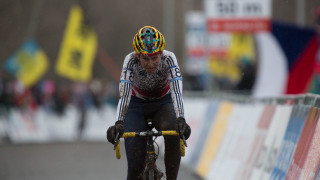 Nikki Harris at the 2015 UCI Cyclo-cross World Championships in Tabor, Czech Republic.