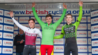 George Thompson, Nick Barnes and Jack Humphreys on the podium at 2015/16 British Cycling National Trophy Cyclo-cross Series round two in Derby.
