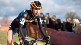 Helen Wyman on her way to seventh place at the UCI Cyclo-cross World Cup round six, Lignieres-en-Berry, France, 17 January 2016
