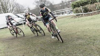 Cyclo-cross riders cornering on a course