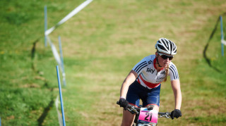 Alice Barnes prepares to race at round three of the UCI Mountain Bike Cross-country World Cup in Lenzerheide
