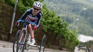 Hannah Dines on her way to victory in Brescia, Italy.