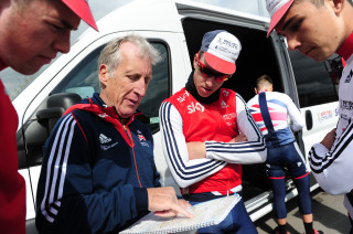Great Britain Cycling Team Olympic Academy Programme coach Keith Lambert with riders during the Tour de Yorkshire.