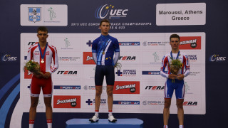 The junior men's points race podium