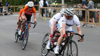 Lora Turnham and Corrine Hall in action on the tandem in the B road race