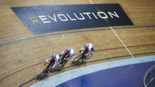 Great Britain's women track sprinters in training