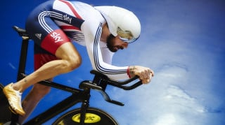 Sir Bradley Wiggins in training at the National Cycling Centre
