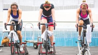 Great Britain Cycling Team's women team pursuit squad training in Derby.