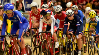Laura Trott in the omnium at the UEC European Track Championships in Grenchen.