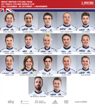 Great Britain Cycling Team that will compete at the first round of the 2015/16 UCI Track Cycling World Cup in Cali