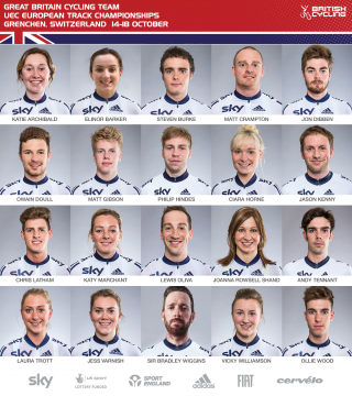 The Great Britain Cycling Team for the 2015 UEC European Track Cycling Championships