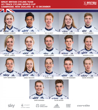 Great Britain Cycling Team for UCI Track Cycling World Cup in New Zealand