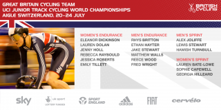 The eighteen-strong squad for the UCI Junior Track World Championships