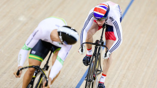 Jason Kenny competes in the sprint for Great Britain Cycling Team