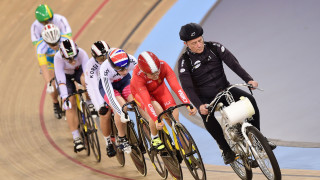 Becky James races in the keirin at the UCI Track Cycling World Championships