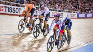 Mark Cavendish competes in the elimination race at the UCI Track Cycling World Championships