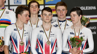 The Great Britain Cycling Team junior men's team pursuit squad win bronze at the junior world championships