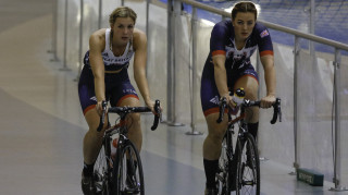 Team GB's Becky James and Katy Marchant trains in Newport ahead of the Rio Olympic Games