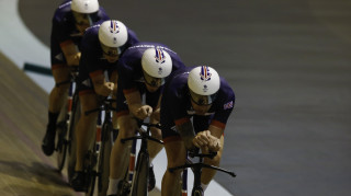 Team GB's Sir Bradley Wiggins, Ed Clancy, Steven Burke and Owain Doull in team pursuit training.