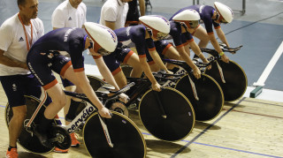 Team GB's Ciara Horne, Elinor Barker, Laura Trott and Joanna Rowsell Shand ready to start an effort in Newport.