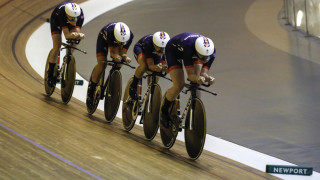 Scotland's Katie Archibald on the front during women's team pursuit training.
