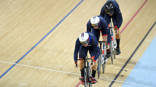 Team GB's Phil Hindes, Jason Kenny and Callum Skinner on their way to team sprint gold at the Rio Olympics