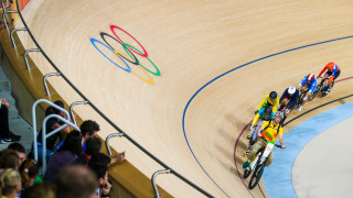 Becky James races in the keirin at the Rio Olympics