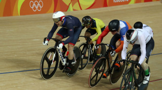 Jason Kenny races in the keirin at the Rio Olympics
