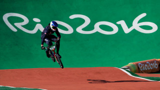 Liam Phillips competes in the BMX seeding run at the Rio Olympics