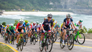 Team GB's Emma Pooley leads the peloton in the women's road race at the Rio Olympics