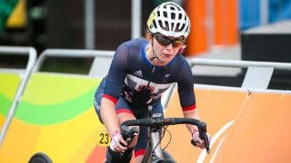 Hannah Dines competes for Great Britain in the road race at the Paralympic Games