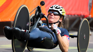 Karen Darke competes for Great Britain in the road race at the Paralympic Games