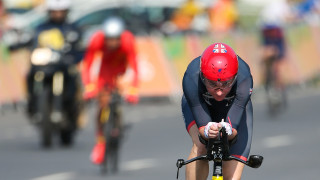 Dame Sarah Storey competes for Great Britain in the time trial at the Paralympic Games