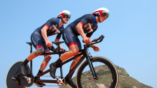 ParalympicsGB's Steve Bate and Adam Duggleby in the time trial at the Rio Paralympic Games