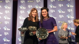 Joanna Rowsell Shand and Dame Sarah Storey celebrate success at the SJA British Sports Awards
