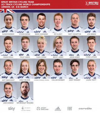 Great Britain Cycling Team for the 2016 UCI Track Cycling World Championships