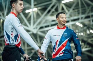 BMX riders Tre Whyte and Paddy Sharrock in the new KALAS Great Britain Cycling Team kit.
