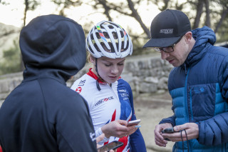 Coach Simon Watts and Evie Richards