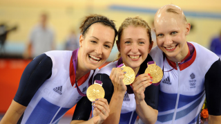 Dani King, Laura Kenny and Joanna Rowsell Shand celebrate Olympic team pursuit gold at London 2012