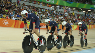 Joanna Rowsell Shand leads the British team pursuit lineup at the Rio Olympics